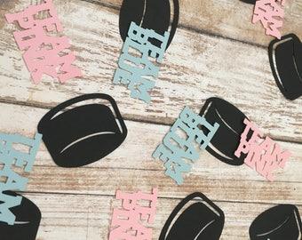 Team Blue vs Team Pink Confetti, Hockey Gender Reveal Confetti, Gender Reveal Table Decor, Gender Reveal Party Confetti, Sports Confetti