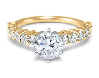 6 prong round 14k Yellow Gold Forever ONE Moissanite half eternity engagement ring 1/2 carat to 3 carat center  Forever ONE round cut