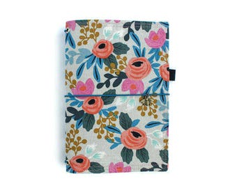 Floral Fauxdori Fauxdori Cover Fabric Traveler's Notebook Elastic Journal Rifle Paper Gifts for Writers Rifle Paper Co Fabric Dori EMMA