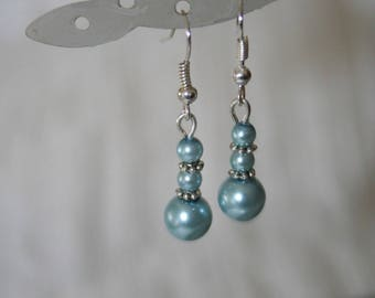 earrings with lovely light blue glass pearl beads