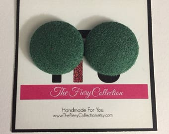 Hunter Green Velvet Button Earrings
