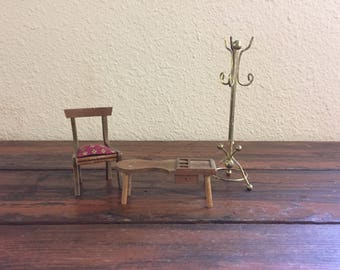 Miniature Wooden Furniture / Vintage Dollhouse Furniture / Three Pieces Total