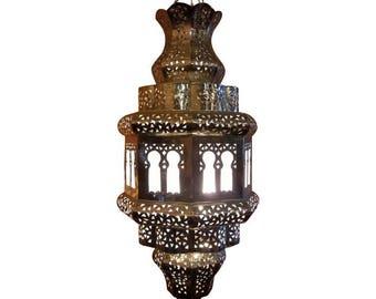 Old Fez Moroccan Lantern, Copper - Silver Look