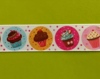 7/8 Grosgrain Ribbon Colorful Cupcakes