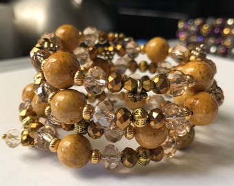 Gold Crystal Memory Bracelet, Gold Wrap Bracelet, gifts for her, Womens bracelet, Golden Wrap Bracelet, Wire Wrap Bracelet, beaded jewelry