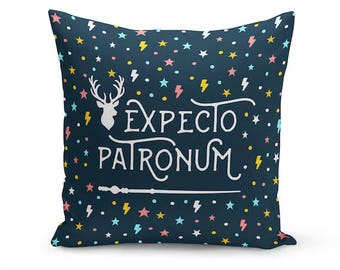 Harry Potter Pillow Cover: Expecto Patronum, Harry Potter Cushion, Hogwarts, Tumblr Room Decor, Harry Potter Bedding, Gift Idea