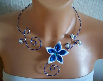 Necklace dark blue wedding bridal Royal Blue and white wire aluminum crafted effect diamond flower satin evening ceremony Christmas