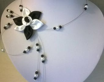 Necklace bridal wedding party evening satin flower, pearls white clouded maid of honor ceremony