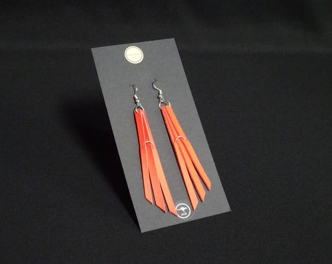 Triple Earring - Bright Orange - Handmade in Australia using genuine Australian kangaroo leather.