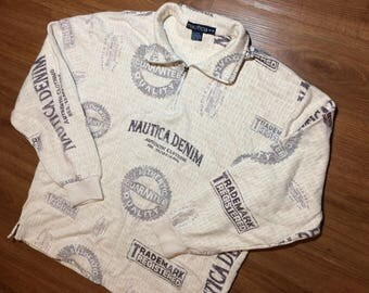 Nautica denim zip up sweater mens medium 90s all over print vtg