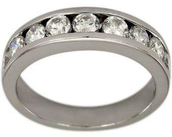 One Carat Diamond Channel Set Nine Diamond Wedding Band