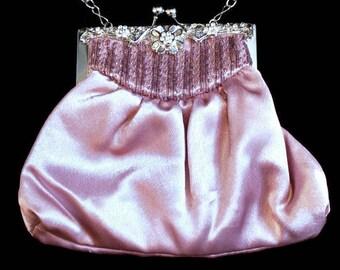 Pink Satin Evening Bag, Formal, Wedding, Prom