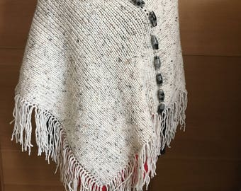Hand knit, Knitted poncho, Handmade item
