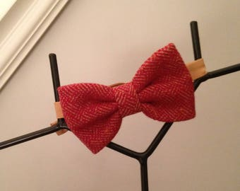Bow tie men red tweed