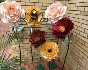 ROSE PEONY paper flower freestanding /paper flower wall/Wedding flower/birthday party /home styling/wedding centerpiece/window display