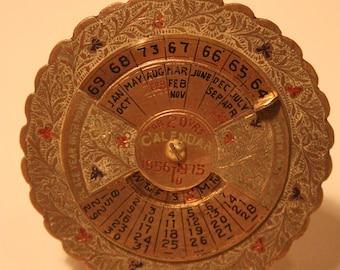 Vintage Brass 20  Year Calendar 1956 To 1975