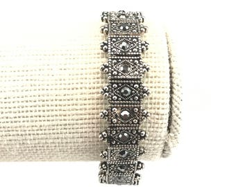 Stretch Bracelet~Antique Silver Toned Metal~Grey Rhinestones