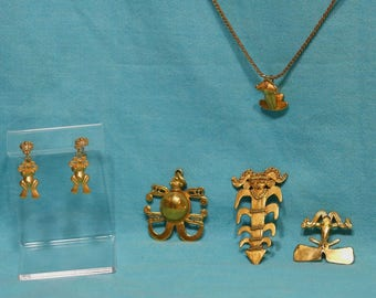 Collection Of Pre Colombian Replica Antique Gold Finish Brooches MMA & More