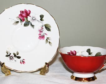 Royal Stafford Red Umber Teacup & Saucer Pink Roses White Flowers Beautifully  Flared Teacup Gold Gild Trim