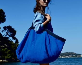 BIG BLUE BAG. Very Large Beach Bag. Big Tote. Tres Grand Sac de Plage. Ikea Style.