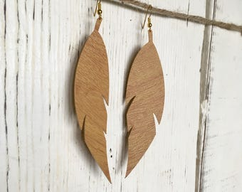 Large Feather Faux Leather Wood grain Earrings: Ash