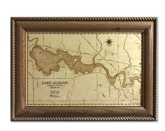 Lake Allegan Dimensional Wood Carved Depth Contour Map - Customize With Your Home Information