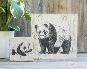 Panda Print Set, Panda Gift, Nursery Wall Sign, Rustic Nursery Decor, Dorm Decor, Teen Room Decor, Nature Wall Art, Gift For Kids, Christmas