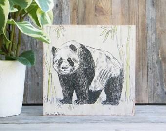 Panda Print, Panda gift, Woodland Animals, Nursery Wall Art, Rustic Nursery Decor, Woodland Nursery, Woodland baby Sower, Kids Room Decor