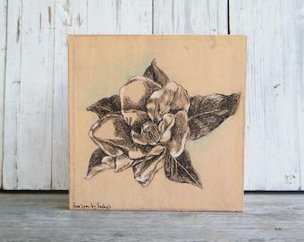 Botanical Art Print, Magnolia Flower Print, Home Decor, Boho Chick Decor, Bedroom Decor, Rustic Wall Sign, Laundry  Room Decor, Thanksgiving