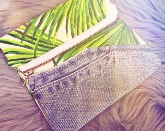 Feather palm denim mini clutch