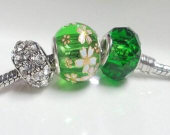 3 european glass beads - flower pattern - crystal glass facet - clear rhinestone crystal barrel, large hole