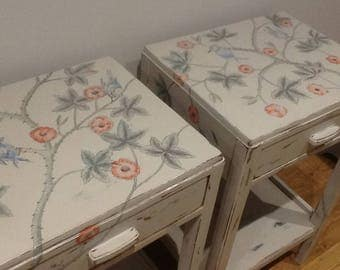 Pair of Vintage Hand-Painted Bedside Tables, Pair of Painted Bedside Cabinets, Pair of Lamp Tables, Side table, Hall Table, Occasional Table