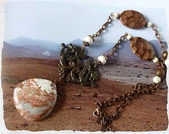 "Necklace ethnic-inspired ""Jasper"" Antique Style, antique copper metal, print vintage, natural stones, Jasper pendant, howlite"