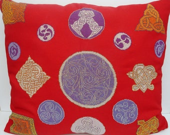 Fully embroidered Celtic cushion handmade