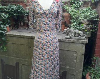 Cath Kidston 1930's Style Pretty Floral Tea Dress size S/M UK8/10