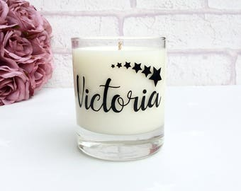 Personalised Name Candle with stars motif