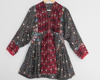 Rare Vintage Handmade Afghan Embroidered Balloon Sleeve Tunic Dress