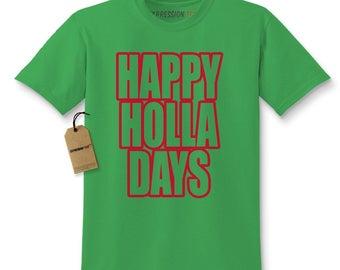 Happy Holla Days Happy Holidays Christmas Kids T-shirt