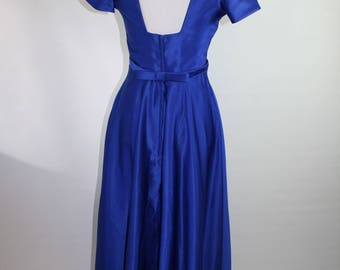 Royal Blue Satin Repro 50s Gown 37/26/Free