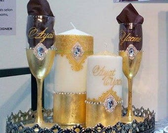 Set of customizable wedding, gold plating, crystals
