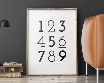 Art Digital Print Poster Number Print – Monochrome Typography Number Art, Nursery Printable Scandinavian Art *Digital Download PDF/JPG*
