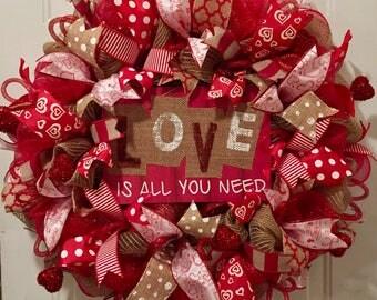 Valentine wreath, Valentines Day wreath, Love wreath, Valentine decor, Valentine front door wreath, Valentine Day wreath, love decir