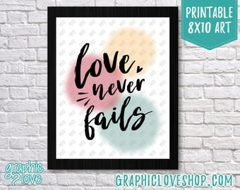 Printable 8x10 Love Never Fails, 1 Corinthians 13 Art Print | Baby Shower, Wedding Gift, Simple | High Resolution JPG File, Instant Download