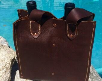 Wine tote , wine bag, Wine Lover Gift, leather wine tote,