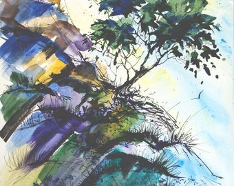 Mountain tree watercolor and ink painting Original landscape painting Original landscape art Original tree painting 11 in x 14 in painting