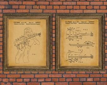 Van Halen Poster Eddie Van Halen Patent Print Rock and Roll Art Guitar Player Artwork Musician Gift Rock & Roll Lovers Wall Decor PP 5205
