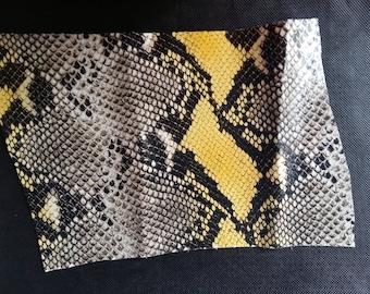 Natural/soft yellow tortoiseshell python leather drop / textured leather /fantaisie/decoration/leather/bracelet/necklace/dog scraps