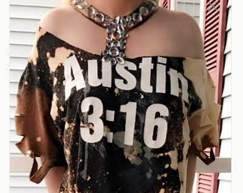 Vintage Upcycled Reworked Stone Cold Steve Austin Distressed Band Tee