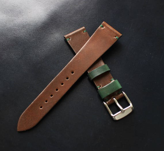 20/16mm Dark Whiskey Horween Shell Cordovan watch band - simple side stitch