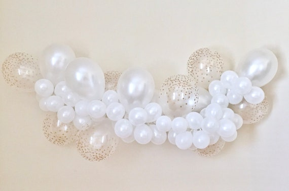 Balloon garland diy kit white and gold confetti look balloons il570xn junglespirit Images
